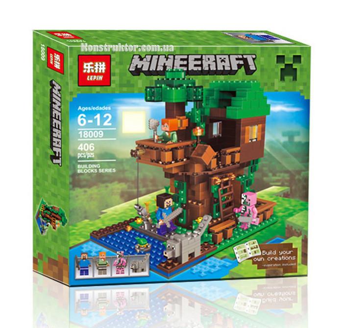 "Конструктор Lepin 18009 ""Домик у реки"" Minecraft , 406 деталей"