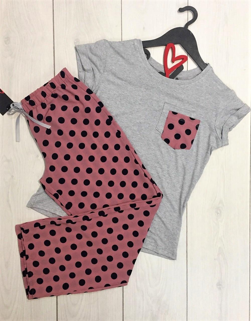 Пижамный комплект штаны и футболка 008, молодежные пижамы.