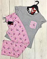 Молодежная пижама штаны и футболка 008-розовый фламинго.