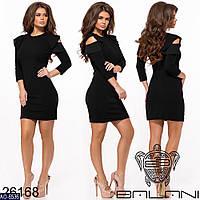 Стильное мини платье. Женское платье с воланами на плечах. Размеры: 42, 44, 46, 48.
