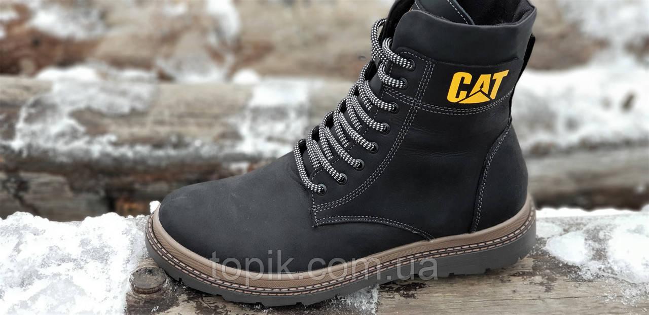 c99d5f40 ... Высокие мужские зимние ботинки CAT (Caterpillar) реплика кожаные черные  на натуральном меху (Код ...
