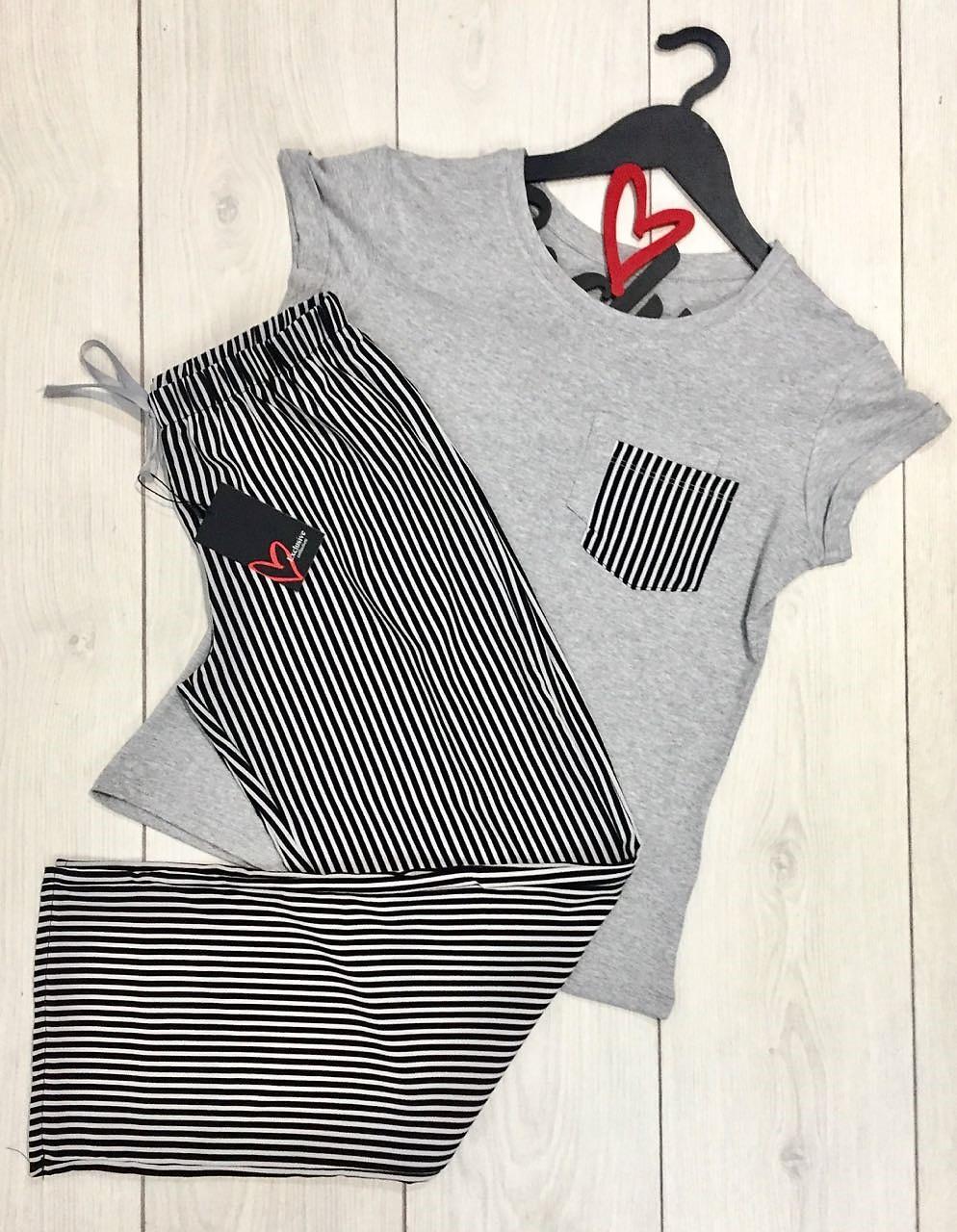 Полосатый молодежный комплект пижамы: футболка + штаны размер 42-44