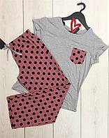 Пижама в горошек штаны и футболка Exclusive 008, одежда для дома.