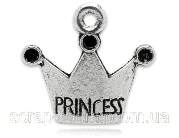 Подвеска металлическая Корона с надписью Princess серебро 19*17 мм