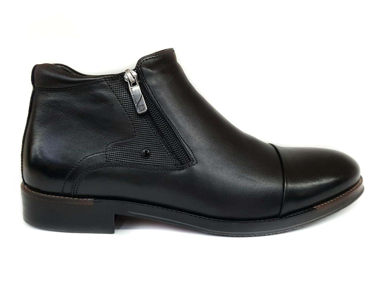 Зимние классические мужские кожаные ботинки Boss Victori черные на цигейке B0009