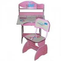 Детская парта со стульчиком трансформер Bambi HB 2878-02(стол-парта растишка) , розовая КИЕВ, фото 1
