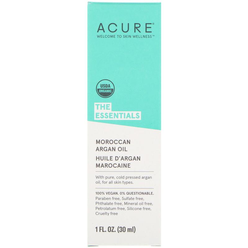 """Аргановое масло Acure, The Essentials """"Moroccan Argan Oil"""" марокканское (30 мл)"""