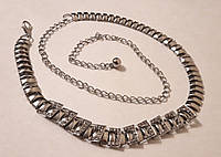 Женский металлический пояс цепочка, серебристый