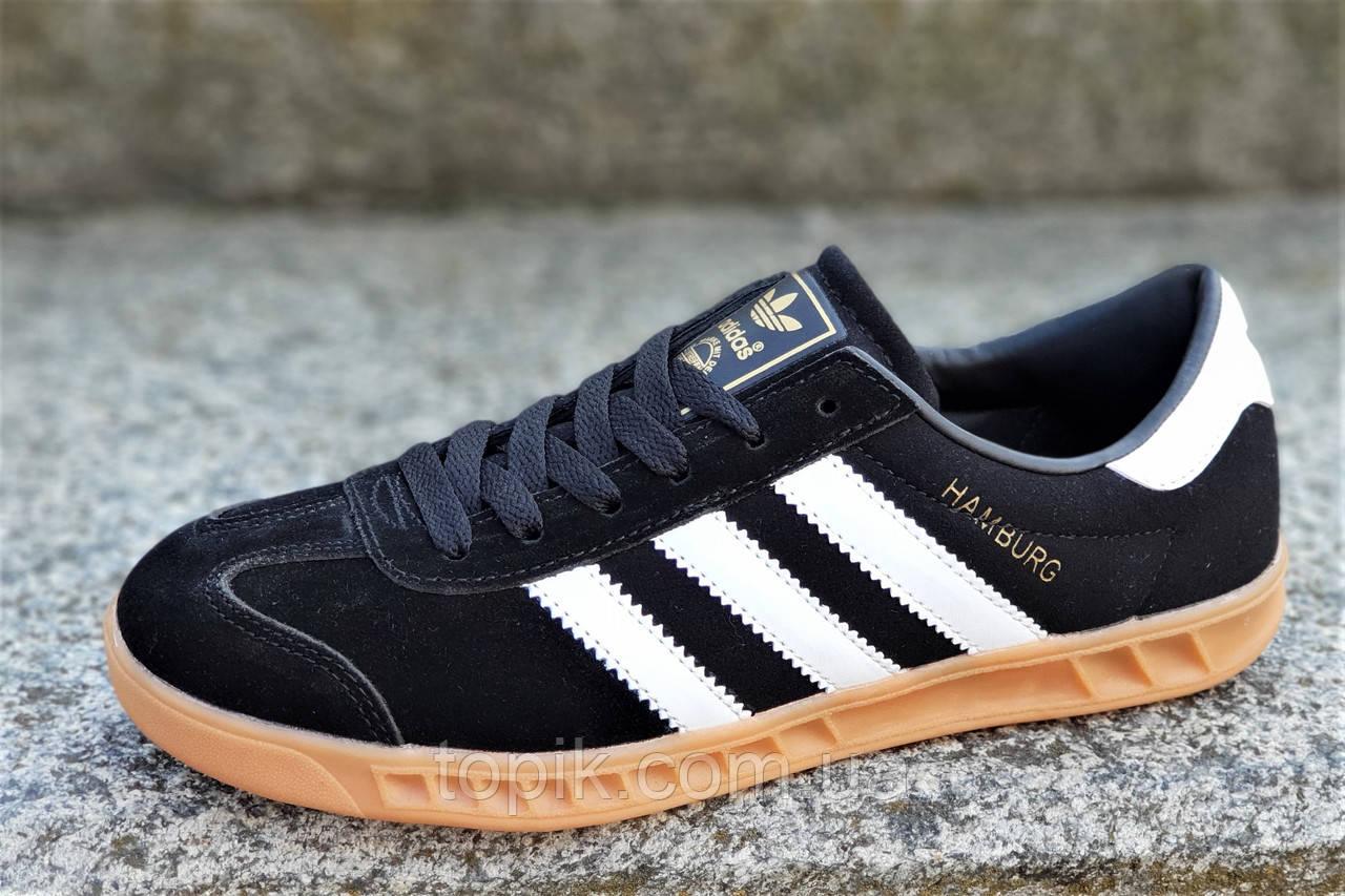 Модные мужские кроссовки кеды реплика Adidas HAMBURG натуральная замша черные подошва полиуретан (Код: 1326)