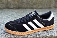 Модные мужские кроссовки кеды реплика Adidas HAMBURG натуральная замша черные подошва полиуретан (Код: 1326), фото 1
