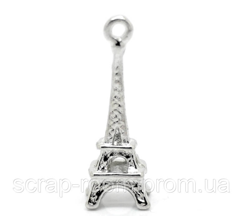 Подвеска металлическая Эйфелева башня 3D Париж  серебро 24*8 мм
