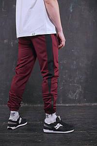 Штаны спортивные Rocky (Рокки) бордовые с чёрной вставкой размер М
