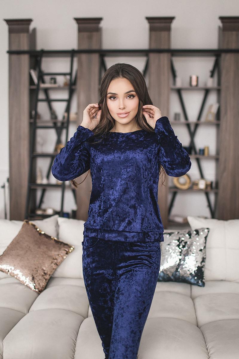 Женский велюровый костюм Синий