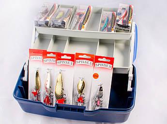 Набор Ящик для рыбалки+ блесна 5 шт+воблер 5 шт +подарок