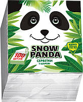 Снежная панда салфетки столовые 100шт 24*24 белые  1 слой