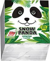 Сніжна панда серветки столові100шт 24*24 білі 1 шар