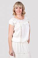 Молодежная летняя блуза белого цвета