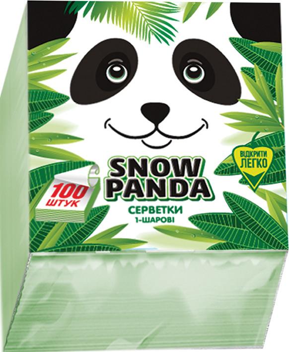 Снежная панда салфетки столовые 100шт 24*24 зеленые 1слой