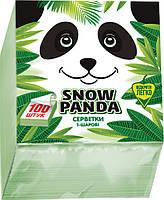 Сніжна панда серветки столові 100шт 24*24 зезені 1 шар, фото 1