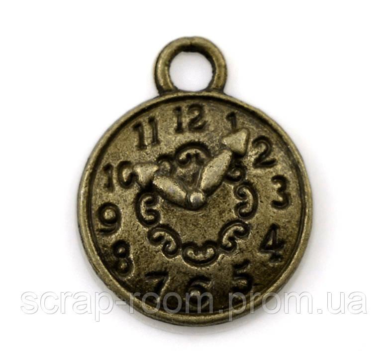 Подвеска металлическая Часы бронза 15*12 мм