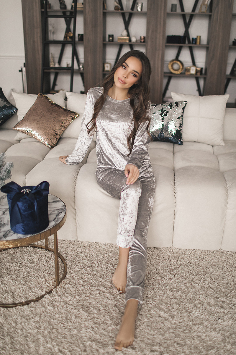 Женский велюровый костюм Серебро