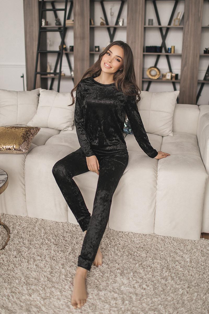 Женский велюровый костюм Черный