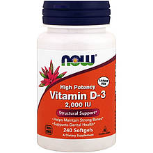 """Витамин D3, NOW Foods """"Vitamin D-3"""" высокоактивный, 2000 МЕ (240 капсул)"""