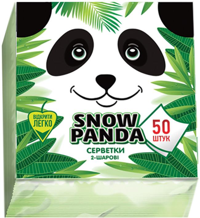 Снежная панда салфетки столовые 50шт 24*24 зеленые 2 слоя