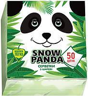 Снежная панда салфетки столовые 50шт 24*24 зеленые 2 слоя, фото 1