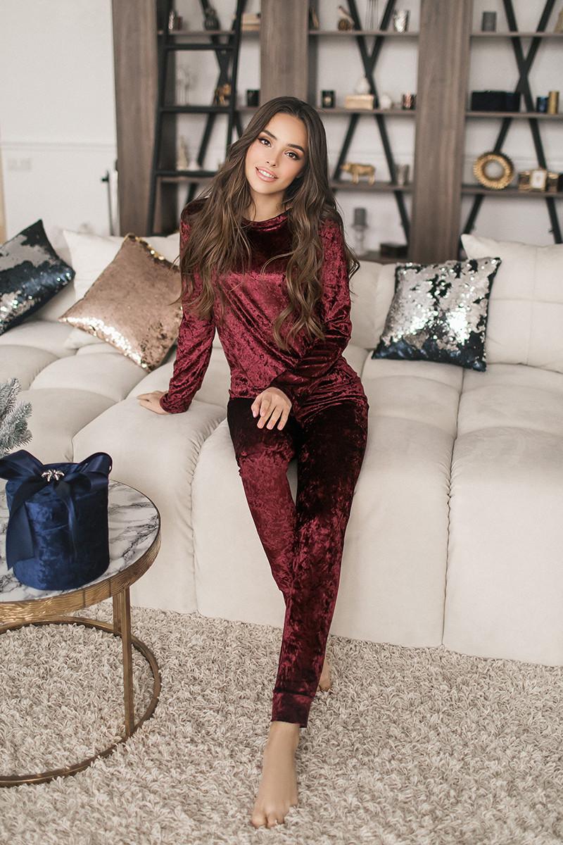 Женский велюровый костюм Бордовый