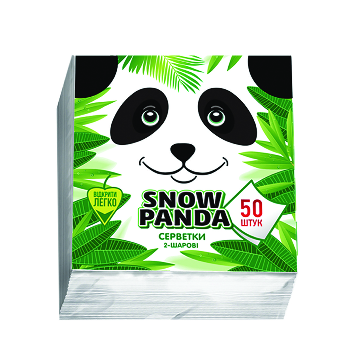 Сніжна панда серветки столові 50шт 24*24 білі 2 шари
