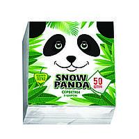 Снежная панда салфетки столовые 50шт 24*24 белые 2 слоя, фото 1