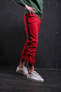 Штаны спортивные Rocky (Рокки) красные с чёрной вставкой