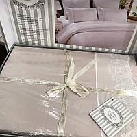 Комплект постельного белья евро Bella Villa сатин с кружевом