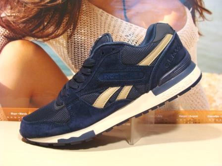 Мужские кроссовки Reebok GL 6000 (реплика) сине-бежевые 45 р.