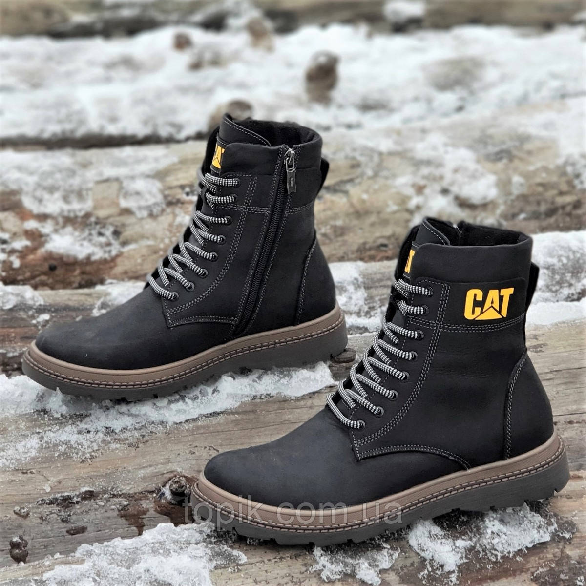 67b9538c Высокие мужские зимние ботинки CAT (Caterpillar) реплика кожаные черные на  натуральном меху (Код