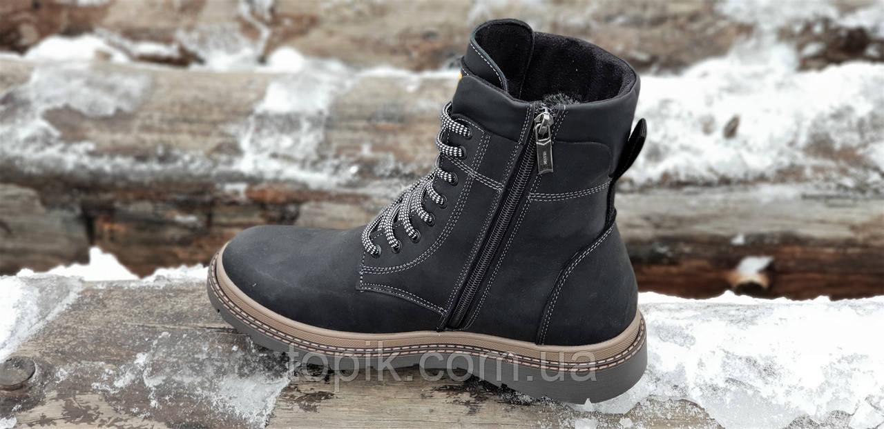 00b74db5c ... Высокие мужские зимние ботинки CAT (Caterpillar) реплика кожаные черные  на натуральном меху (Код ...
