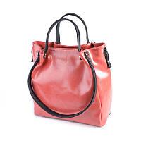 Коралловая сумка М130-20/27 шоппер с черными вставками, фото 1