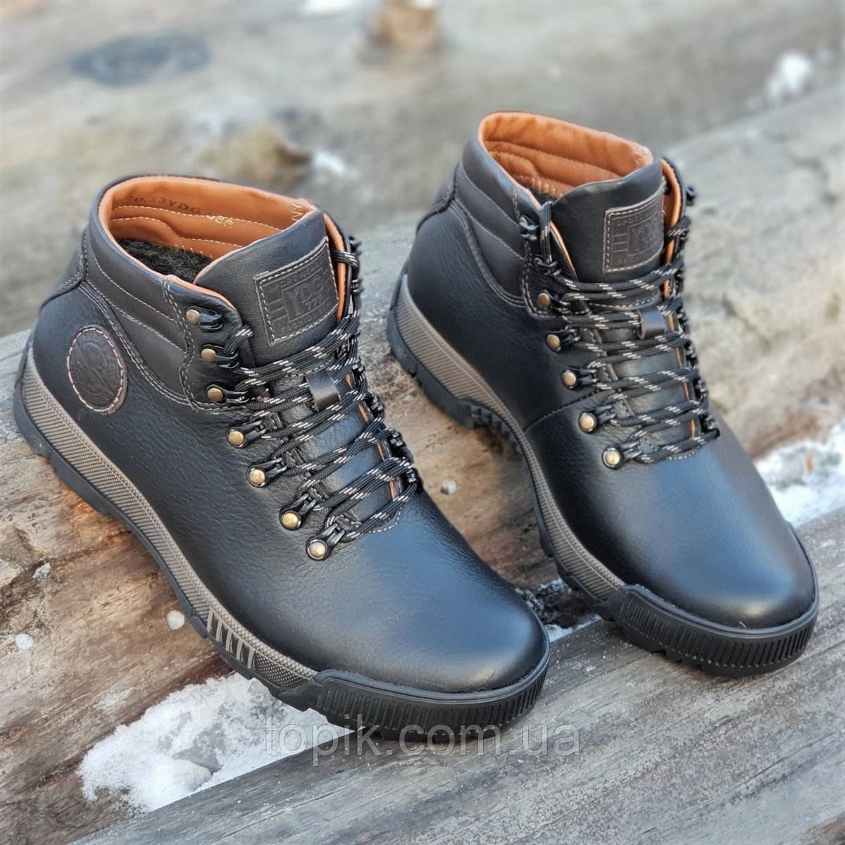 Стильные зимние мужские спортивные ботинки кожаные черные на меху толстая зимняя подошва (Код: 1323a)