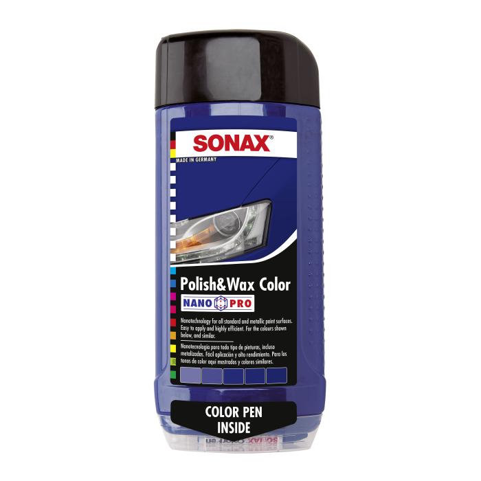 Цветной полироль с воском + карандаш (синий) SONAX Polish & Wax Color NanoPro 500 мл