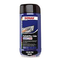 Цветной полироль с воском + карандаш (синий) SONAX Polish & Wax Color NanoPro 500 мл, фото 1
