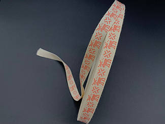 Стрічка декоративна з візерунком. Олені Санта-Клауса. 1,5 см