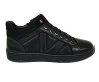 Зимние кожаные мужские ботинки кеды Boss Victori черные на цигейке B0014/14 43