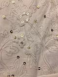 Белая туника с принтом гипюром и пайетками для девочек р 10-12 лет, , фото 3