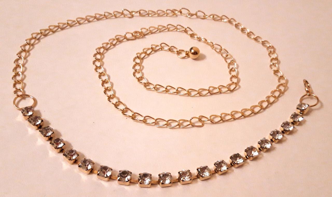Женский металлический пояс цепочка, золотистый