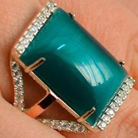 Серебряное кольцо с золотыми накладками с улекситом зеленым и фианитами СС-002