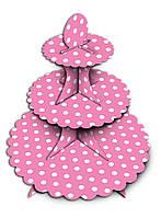 Підставка для капкейків рожева
