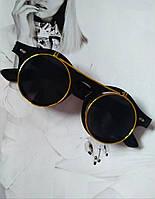 2в1 очки солнцезащитные+имиджевые круглые панк Двойной флип Черный глянец