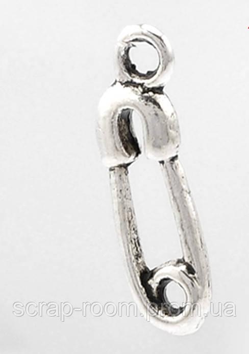 Подвеска металлическая Булавка серебро 19*6 мм