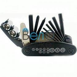 Мультитул велосипедный (черный) 6 шестигранников и 2 отвертки, накидные/торцевые ключи